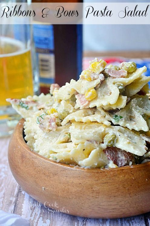 Ribbons and Bows Pasta Salad | from willcookforsmiles.com: Pasta Salad Recipes, Ribbons Bows, Side Salad, Ribbon Bows, Pasta Salads, Summer Salad, Willcookforsmiles Com, Healthy Recipes, Ribbons And Bows Pasta Salad