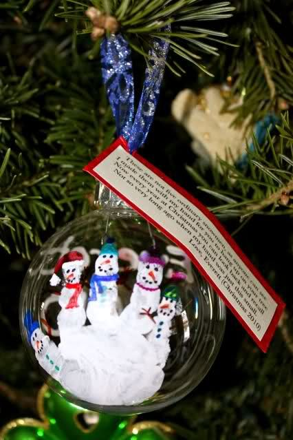 HAND PRINT ORNAMENT   TAG -These are not five ordinary snowman, as you can see I made them with my hand for you to hang up on your tree. Now every year at Christmas you can look back and recall not so very long ago when my hand was just this small.   Love, (Childs Name) Christmas (YEAR)    Thank you Irish*Eyes