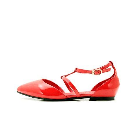 Vrouwen platte hak T-strap sandalen Baotou