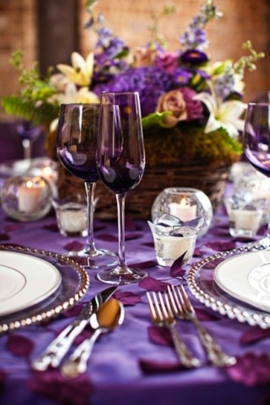 Pretty purple table setting from The Zhush