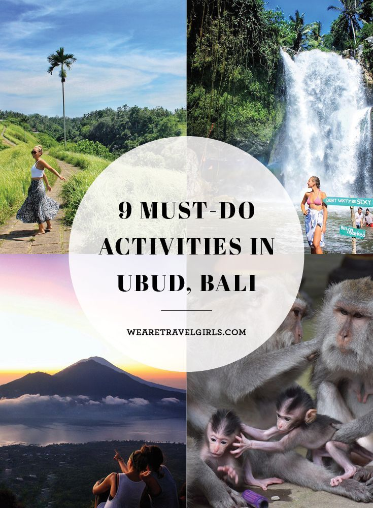 9 MUST-DO ACTIVITIES IN UBUD, BALI Made famous by Elizabeth Gilbert's book Eat, Pray, Love, Ubud has quickly become a spiritual haven for tourists around the world. Located one hour north of Denpasar Airport, it is easily accessible as a day trip or a weekend getaway, so I travelled from Seminyak to Ubud for 3 nights of relaxation and exploration! For tourists, Ubud is known for its shopping, yoga and meditation retreats, and myriad of healthy eating restaurants. By We Are Travel Girls…