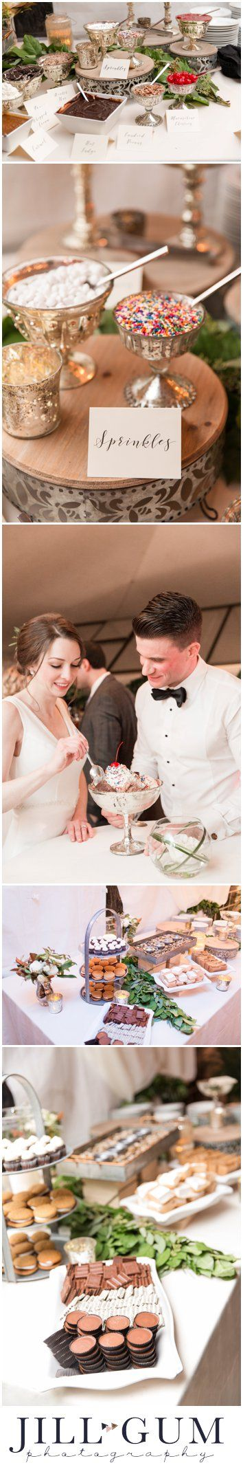 wedding reception, sundae bar at wedding reception, wedding cake alternatives, dessert bar at wedding reception, outdoor white tent reception, ice cream sundae bar, unique wedding reception dessert ideas, elegant outdoor wedding, sophisticated outdoor neutral and ivory wedding