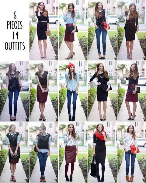 Как создать разнообразные комплекты женской одежды из небольшого количества  вещей 5d8c1c5fd67