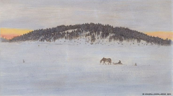 Hugo Simberg (1873-1917) Talvitie / Winter road 1899 - Finland - Finnish horse
