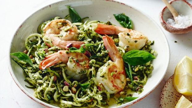 This is one of my favourite recipes. It takes less than 15 minutes to pop on the table and it's a culinary triumph. This taste sensation combines dairy-free pesto with just-cooked zucchini spaghetti, plump and juicy prawns, and crunchy pistachios. You just have to try it to understand how seriously good it is.