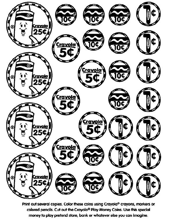 Toy Money Cut Outs : Print out several copies of the play money coins page