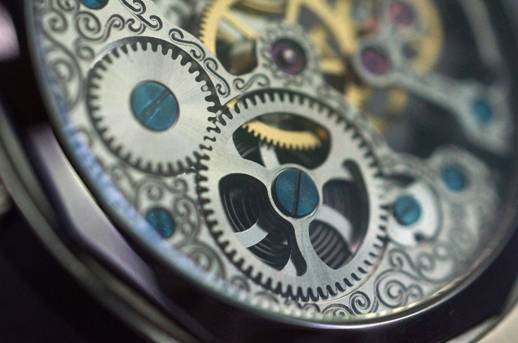 Macro shot of the movement through the caseback on my one of my Cognatic Skeletonized wristwatches
