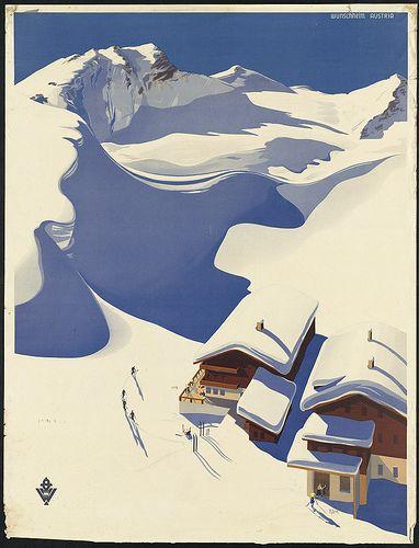 #Austria. Ski lodge in the #Alps by Boston Public Library, via Flickr