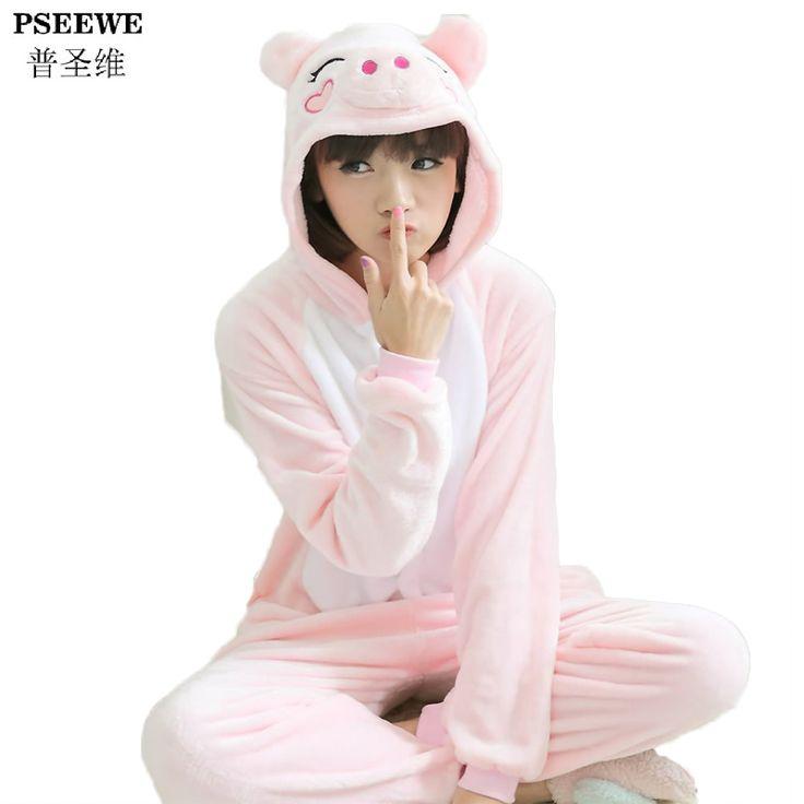 Pseewe New Fashion Pig Unisex Winter Pajama Sets Cute Cartoon Sleepwear Onesies Women Pajama All in One Flannel Animal Pajama //Price: $27.95 & FREE Shipping //     #hashtag3