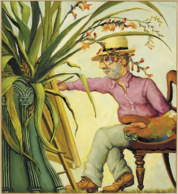 Anthony Green RA - The Artist painting a Green Vase of Montbretia