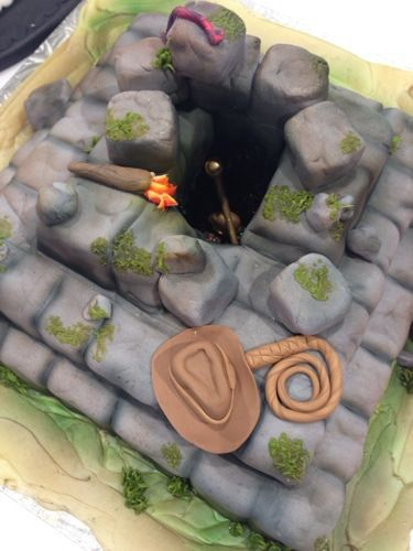 Temple of doom, Indiana Jones theme Fondant Cake, birthday, wedding, party. Grooms Cake