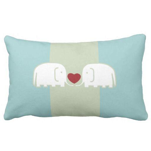 elephants love throw pillow - #light #blue #elephant #heart #love #pillows #zazzle