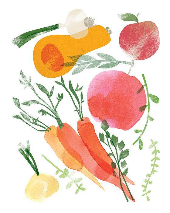 Seasonal Harvest Prints Set of 4 8 x 10 by redcruiser on Etsy