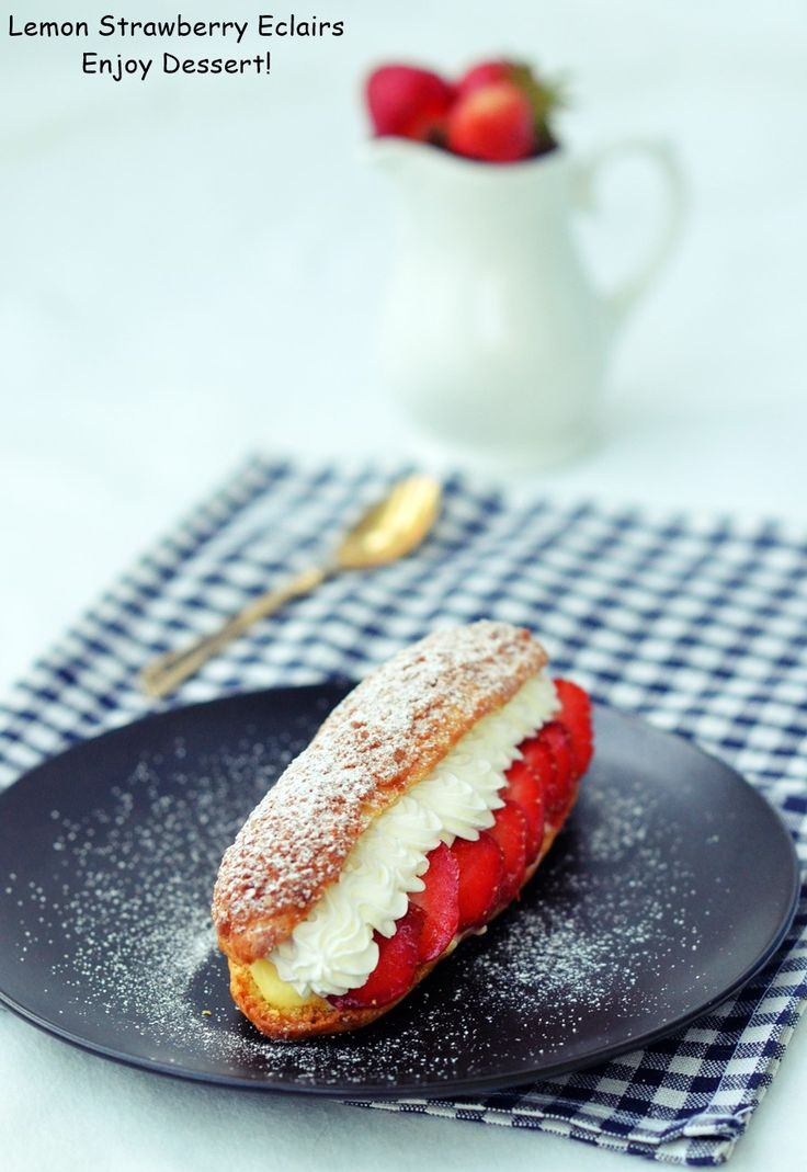 Lemon Strawberry Eclairs