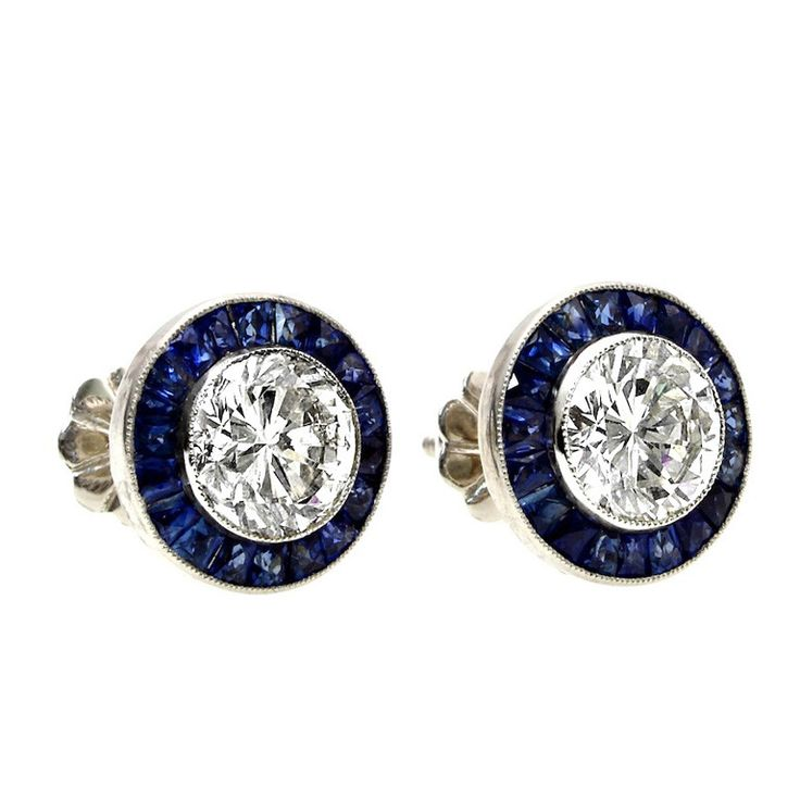Calibre Sapphire Diamond Stud Earrings | From a unique collection of vintage stud earrings at https://www.1stdibs.com/jewelry/earrings/stud-earrings/