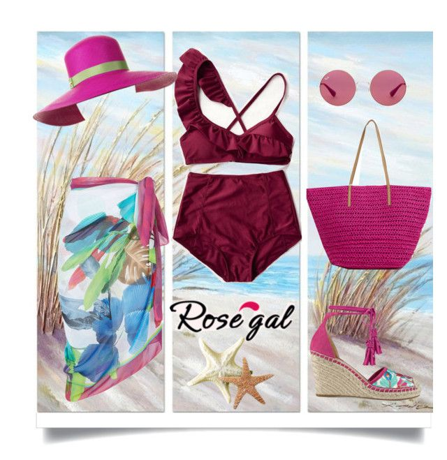 """Rosegal High Rise Bikini"" by karenxxander ❤ liked on Polyvore featuring Yosemite Home Décor, Maryan Mehlhorn, Ivanka Trump, Ray-Ban and Magid"