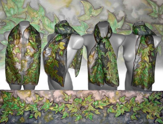 Handpainted silk scarf  Elven realm silk painting by JankaLart
