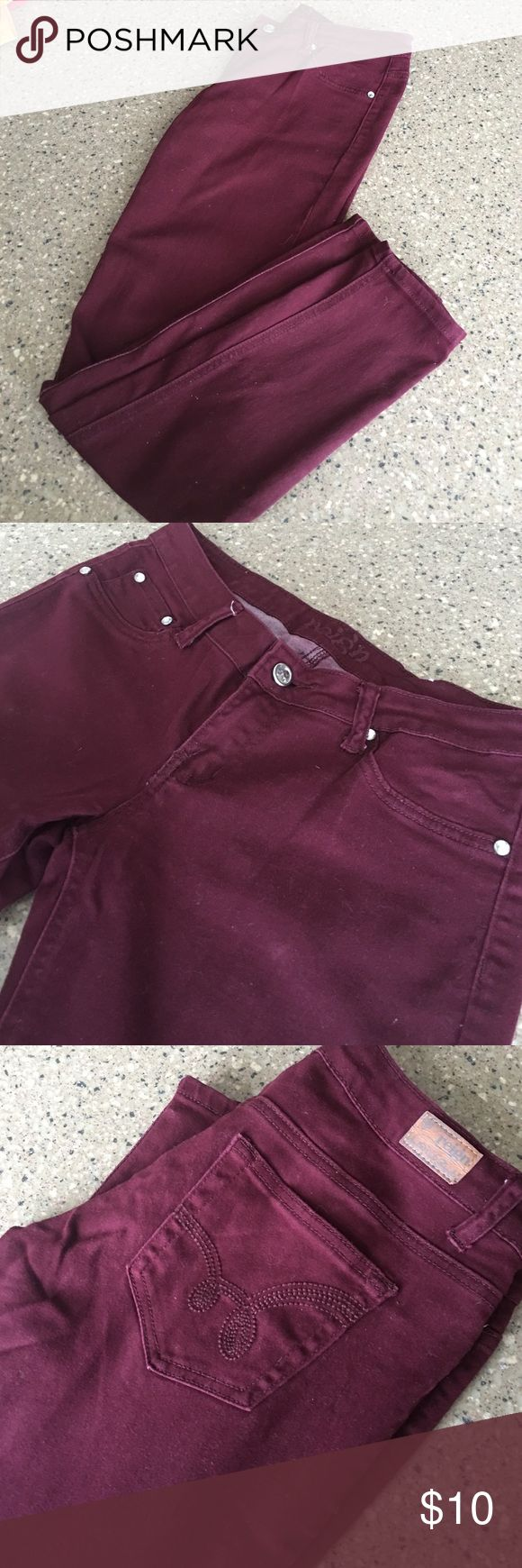 Reign maroon skinny jeans! Maroon Reign brand skinny jeans with diamond stud buttons Reign Jeans