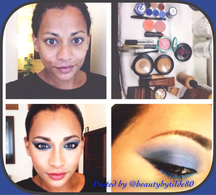Sky's the limit: strong blue eye. To get the strong angles in the corners I used tape. For the lips I used a coral color.