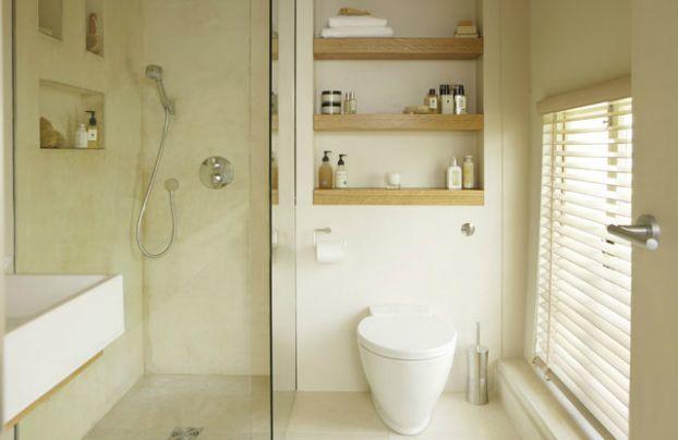 neutral small bathroom design idea - love how warm and clean it feels