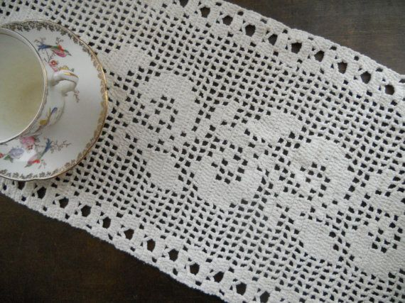 Vintage crocheted table runner White hand by TextilesVintage, $16.00