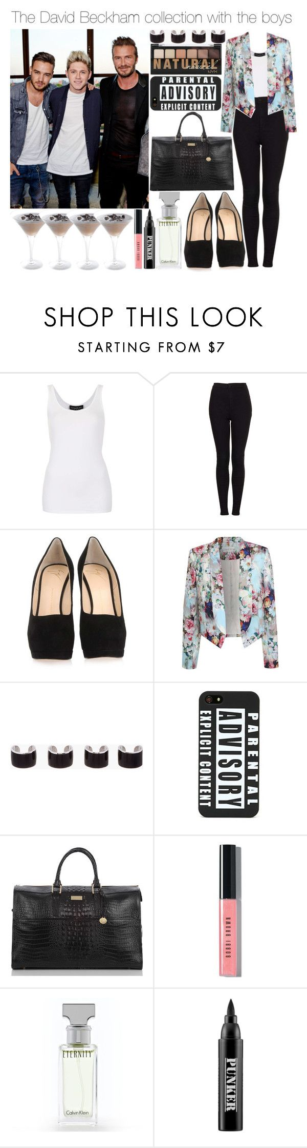 """""""The David Beckham collection with the boys"""" by give-me-love-xox ❤ liked on Polyvore featuring Topshop, Giuseppe Zanotti, Paper Dolls, Maison Margiela, Brahmin, Bobbi Brown Cosmetics, Calvin Klein and Ardency Inn"""