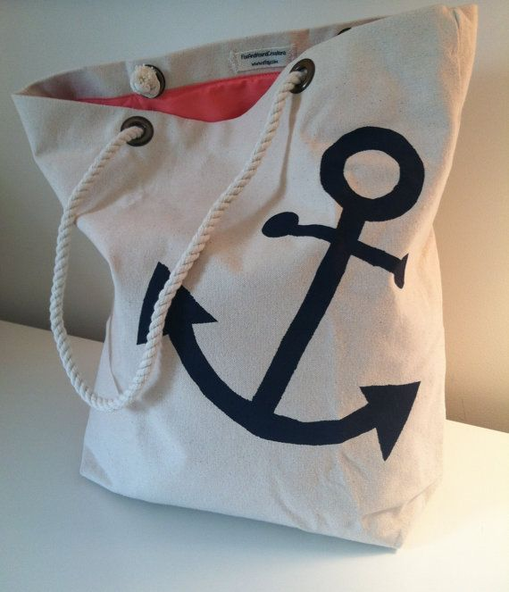 Fully Lined Nautical 12 oz Canvas Anchor Tote with Rope Handles.  Perfect for wedding welcome bags, bridesmaids, gifts, or everyday use. on Etsy, $28.00