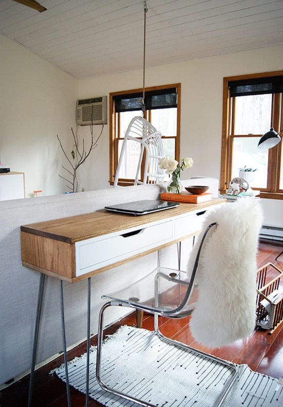 we hacked a slim midcentury laptop desk from the ikea ekby alex drawers to be placed behind our sofa