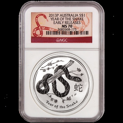 "The Lunar Series 2013 Snake Graded MS70 in an Early Releases designation and Rare Snake Label! This beautiful Silver Snake contains one full ounce of .999 fine Silver!    The coin features a snake curled around a tree branch. The Chinese character for 'Snake' and inscription ""Year of the Snake"" also appear in the design with The Perth Mint's traditional 'P' mintmark."