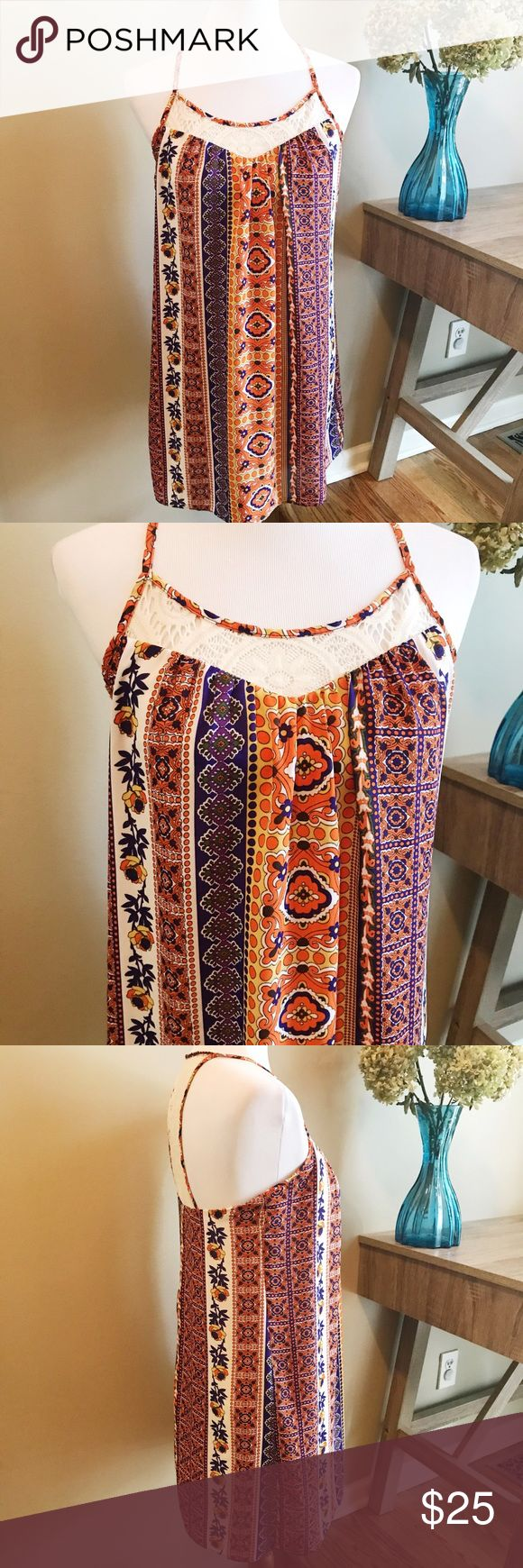 """🎂 B. Smart Racerback Print Dress Excellent Condition B. Smart Racerback Print Dress. Features a feminine crocheted racerback and neckline. Perfect for summer. Lined. 100% Polyester. Approximate measurements laying flat: armpit to armpit 15.5"""", length shoulder to hem 33"""". 👗👛👠👙👕Bundle & Save! B. Smart Dresses"""