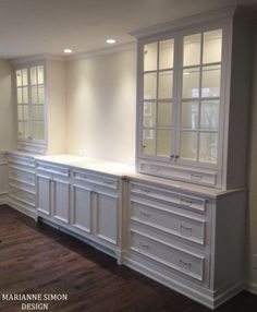 Dining Room - Custom built ins for a dining room - china cabinets with lights, side board and serving area....great detailing..