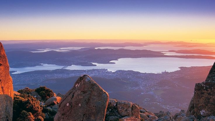 Hobart from Mt Wellington, Tasmania.