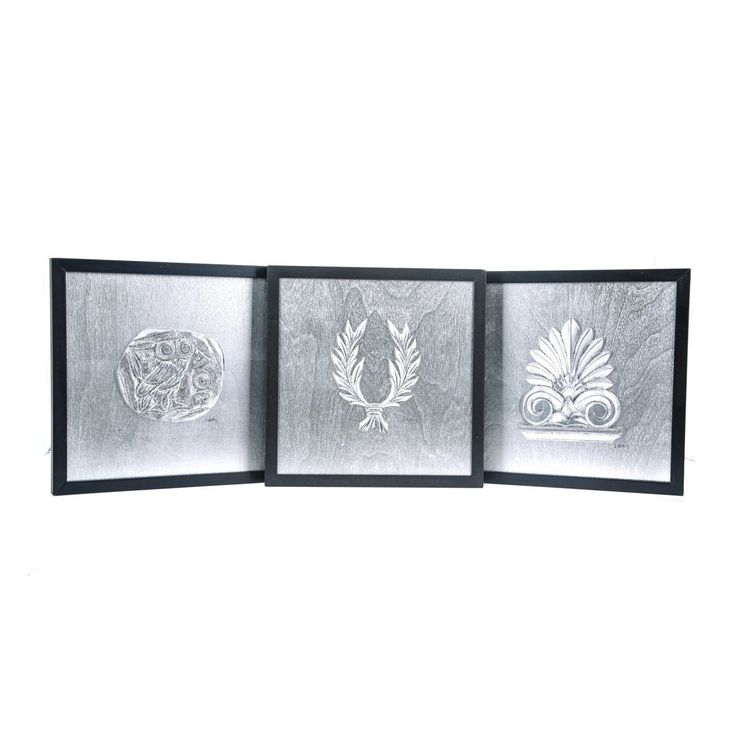 Handmade Wall or Table Ornaments Set of 3. Athenian Owl Coin, Antefix & Laurel Wreath Design. Silver Patinated, Framed 11.8'' (30cm)