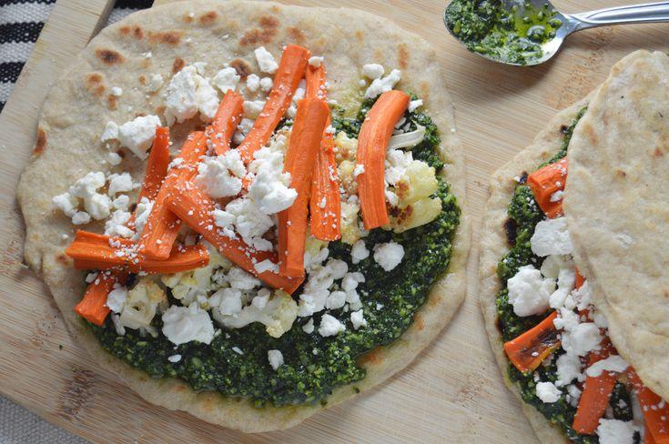 Kale Pesto & Roasted Veggie Flatbread Sandwiches – Radiate Food Vibes