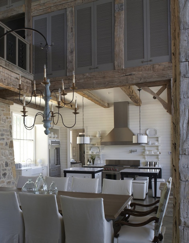 Lake house kitchen by tracery beautiful shutters to give for Rustic lake house kitchens
