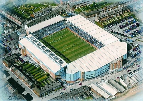Highfield Road in Art, former home of Coventry City F.C. Great gifts @ sportsstadiaart.co.uk......