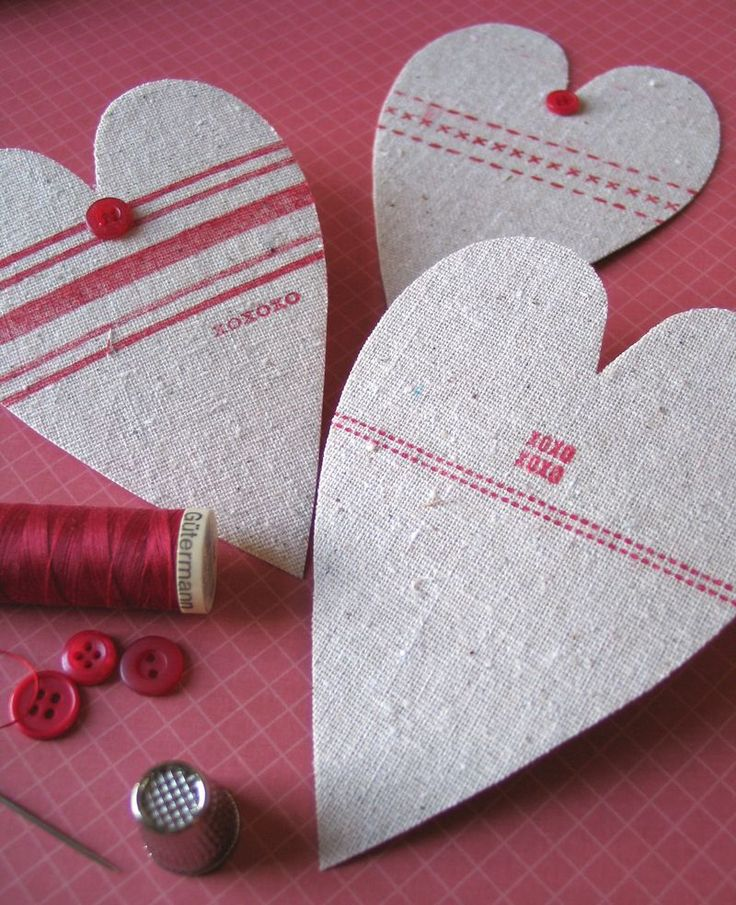 Plain Fabric Covered Card:  Cut a piece of double-sided adhesive that's slightly larger than the heart card; peel off one side of the backin...