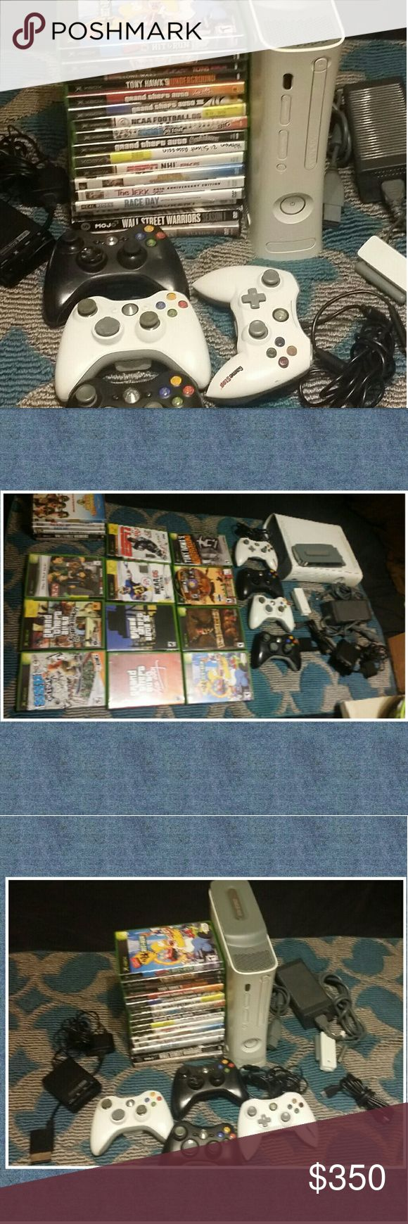 360 XBOX White 250GB 4 remotes 11 Games 6 Movies 360 xbox White , 250 Gb hard drive, 4 remotes =3 wireless 1 Regular , Internet wireless  . 11 Games & 6 Movies (2 movies are new not open ) .This System is in very good working condition it been used by a respectable Adult  that didn't trow the remote and slammed the system .The system was very well taken care of . 👀🙉 please look at all pictures & Ask All Questions Before you buy 💰💳💸 ❌No Box With this System 🚫 ✔Offers are welcome…