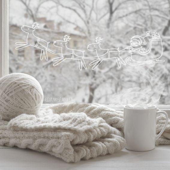 Ho ho ho! Zie je de kerstman in zijn slee door de nacht vliegen? Teken deze vrolijke #raamtekening op je raam om de kerstdagen in te luiden.