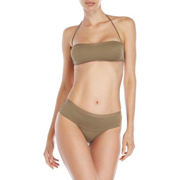 La Perla Bandeau Bikini ($80) ❤ liked on Polyvore featuring swimwear, bikinis, brown, bandeau bikinis, halterneck bikinis, bandeau swimwear, brown halter top and bikini swimwear
