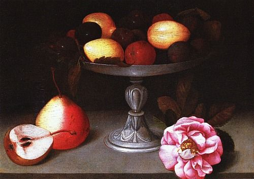 stilllifequickheart:    Fede Galizia  Still Life with Plums, Pears and Rose  1602