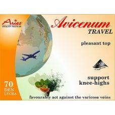 Aries Avicenum 70 DEN travel support socks. Favorable effect against the formation of varicose veins and cellulite. AVICENUM 70 prevents intermittent swelling, such as prolonged standing or sitting. AVICENUM Travel has cosmetic capsules Skintex inside the fibre and reinforced heel. Microcapsules gradually release and help prevent the feeling of heavy legs. These socks are suitable for bolth men and women.Pressure at the ankle 10-14 mmHg. ACTIVtights.com