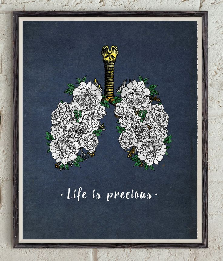 Life Is Precious - Inspirational Quote - Motivational Print - Flowers Art - Lungs Poster - Anti Smoking Poster - Quit Smoking Motivation by Lepetitchaperon on Etsy