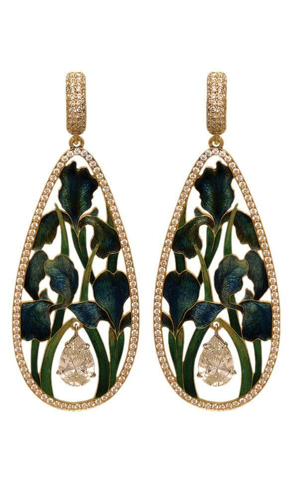 Ilgiz Fazulzianov, enamel and diamond earrings, floral earrings, art jewelry earrings