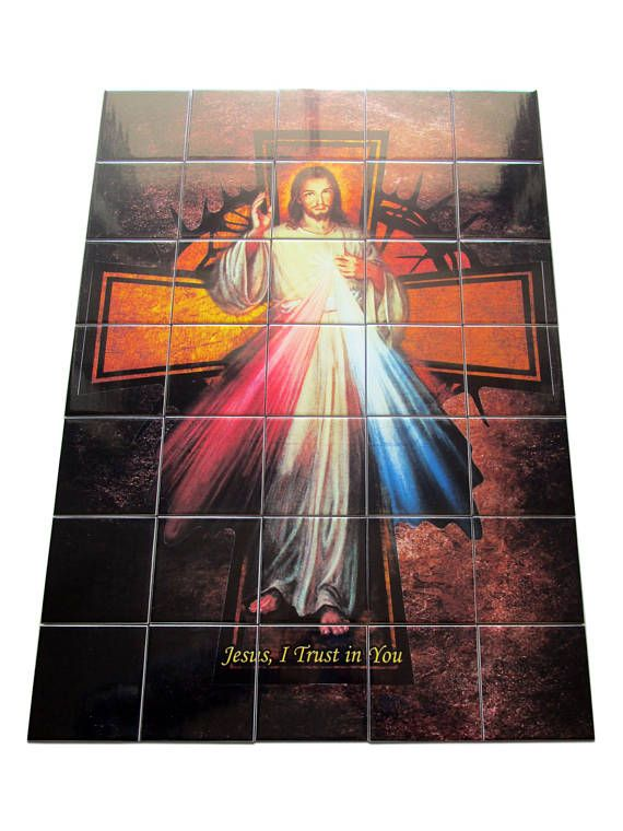 My new tile mural dedicated to #Divine #Mercy #Jesus is available now in my #Etsy Store: https://www.etsy.com/listing/493314296 Large size (about cm 50 x 70) - composed by 35 ceramic #tiles - ready to hang - suitable indoor and outdoor (you can also ask to receive the tiles not glued on panel so you will can glue them directly to a wall). Perfect for a #prayer room, as a very special mosaic above your bed, in a garden... 100% handmade in Italy - Free shipping to selected countries…