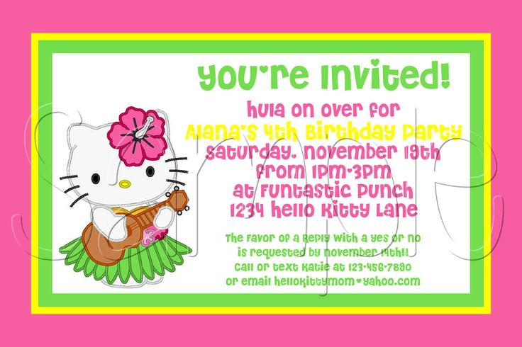 Custom Printable Hello Kitty Luau  Invitation.via Etsy.