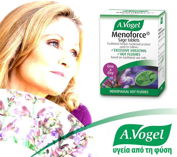 Παραδοσιακό σκεύασμα, φυτικής προέλευσης, A.Vogel Menoforce, με φασκόμηλο. Όταν χρησιμοποιείται το εκχύλισμα του φασκόμηλου (Salvia officinalis),αποτελεί παραδοσιακή θεραπεία για τις εξάψεις της κλιμακτηρίου και τις νυχτερινές εφιδρώσεις. Ανακουφίζοντας τις νυχτερινές εφιδρώσεις,συντελεί σε καλό ύπνο,ο οποίος ελαχιστοποιεί τα προβλήματα κούρασης που εμφανίζονται την επόμενη μέρα,όπως έλλειψη συγκέντρωσης ή και μνήμης. www.avogel.gr…