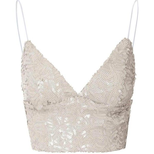 Sand Sequin Cropped Bralet ($32) ❤ liked on Polyvore featuring tops, shirts, bralets, tank tops, beige, bralette tops, zipper crop top, v neck crop top, bralette crop top and white crop top