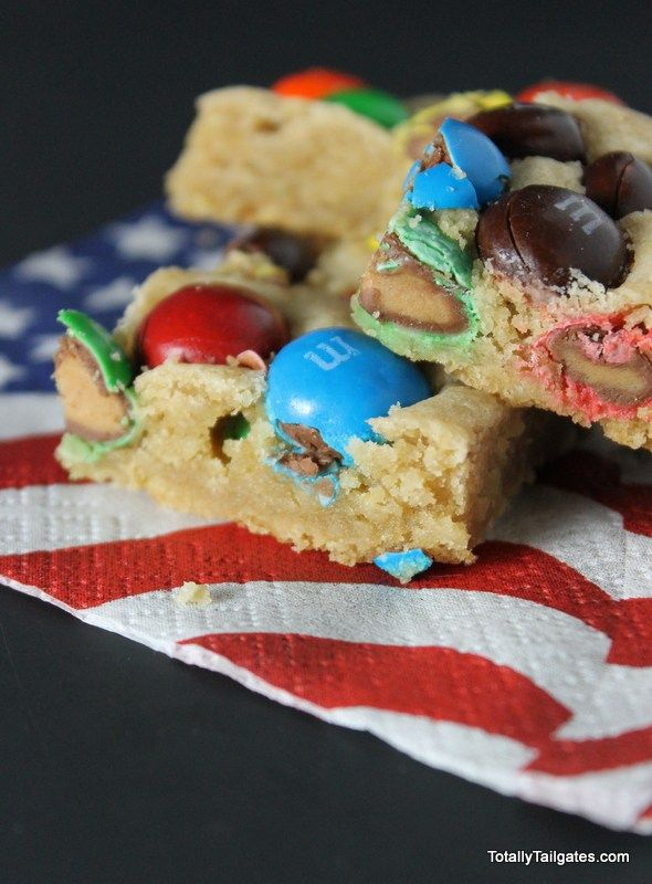 M & M Peanut Butter Blondies for a 4th of July dessert!