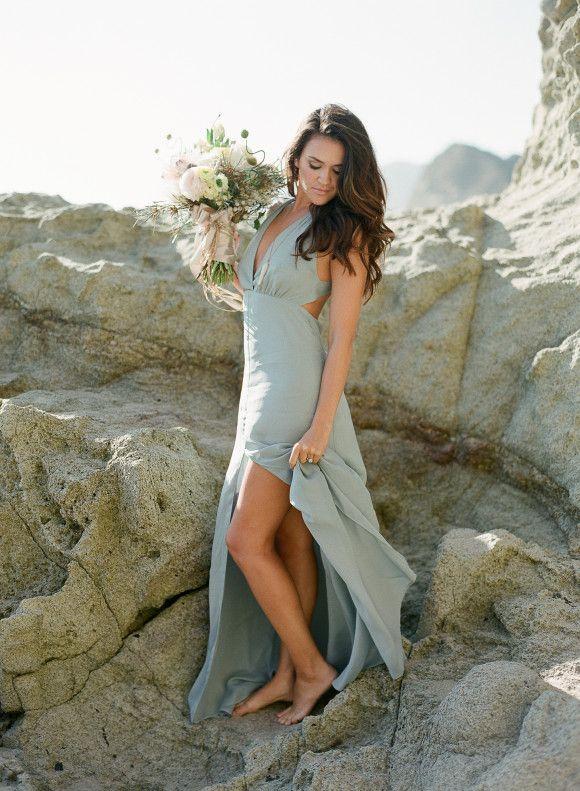 Elegant blush pink and duck egg blue beach wedding inspiration - Best Wedding Blog